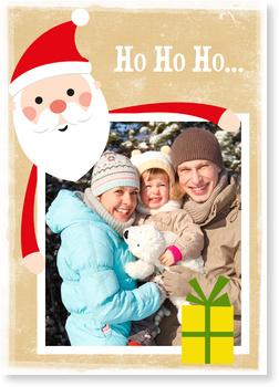 fr hlicher weihnachtsmann in braun private weihnachtskarten