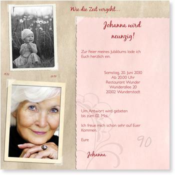 erinnerungsalbum in rosé einladungskarten 90. geburtstag