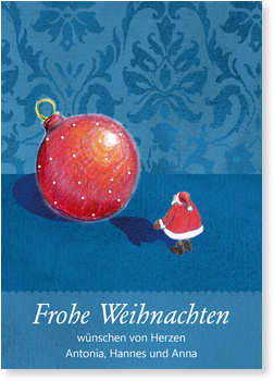 weihnachtsmann mit kugel private weihnachtskarten
