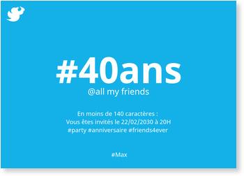 Hashtag Anniversaire Invitations Anniversaire 40 Ans Personnalisables Bonnyprints Fr