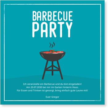 barbeque grill in blau einladungskarten sommerfest